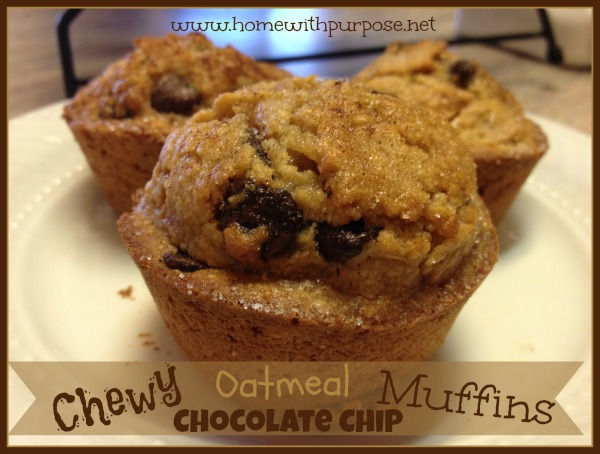 These tasty oatmeal chocolate chip muffins came about as a result of ...