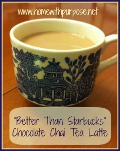 """Better Than Starbucks Chocolate Chai Tea Latte"