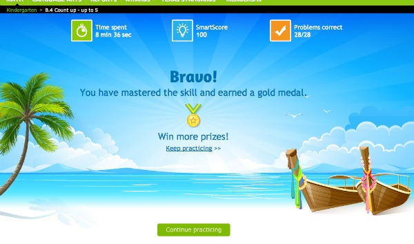 IXL gold medal screen