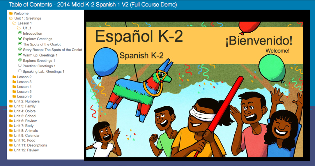 The menu to the left is how the student navigates between units and lessons.